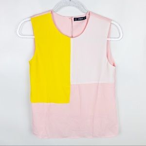 SHEIN XS Sleeveless Pink Yellow Color Block Top